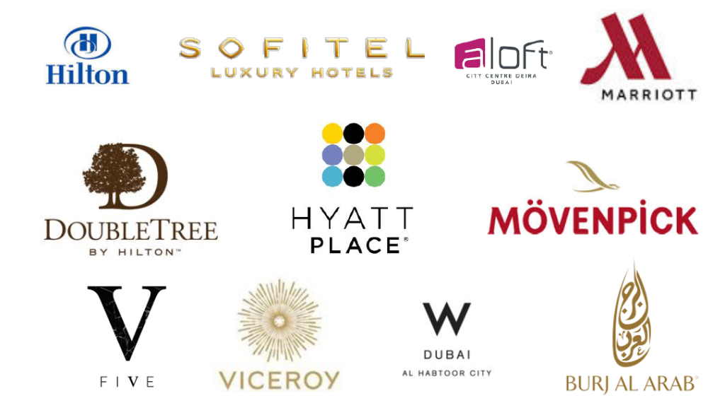 A list of clients we have worked with:  Hilton, Sofitel, A Loft, Marriott, DoubleTree, Hyatt Place, Movenpick, Five, Viceroy, Dubai Al Habtoor City, Burj Al Arab.